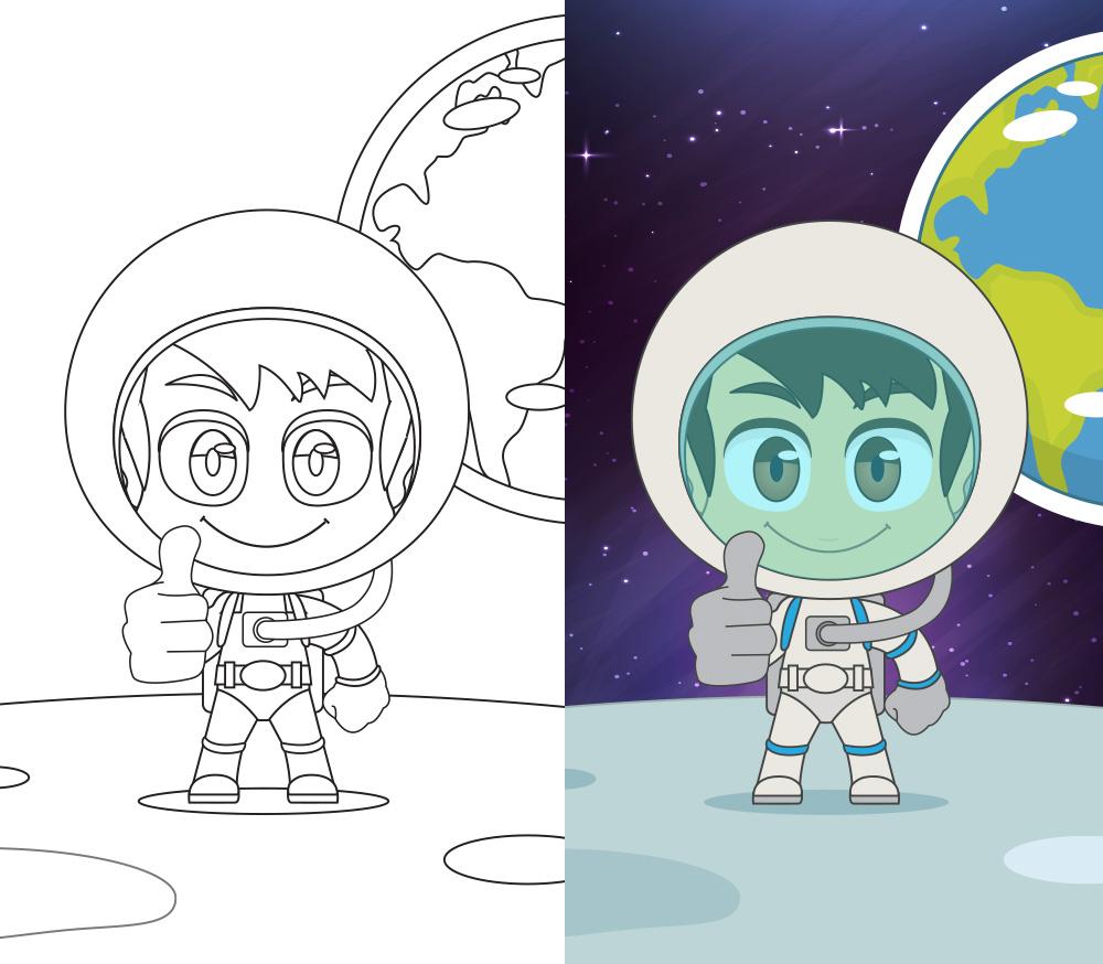 Coloring the Astronaut - تلوين رائد الفضاء